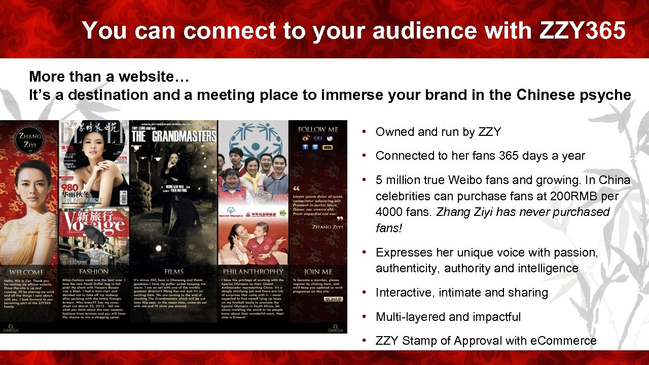 You can connect to your audience with ZZY 365 More than a website… It's
