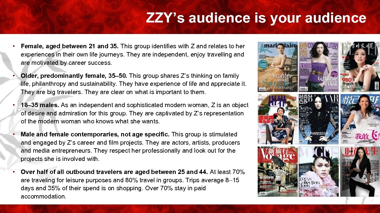 ZZY's audience is your audience • Female, aged between 21 and 35. This group