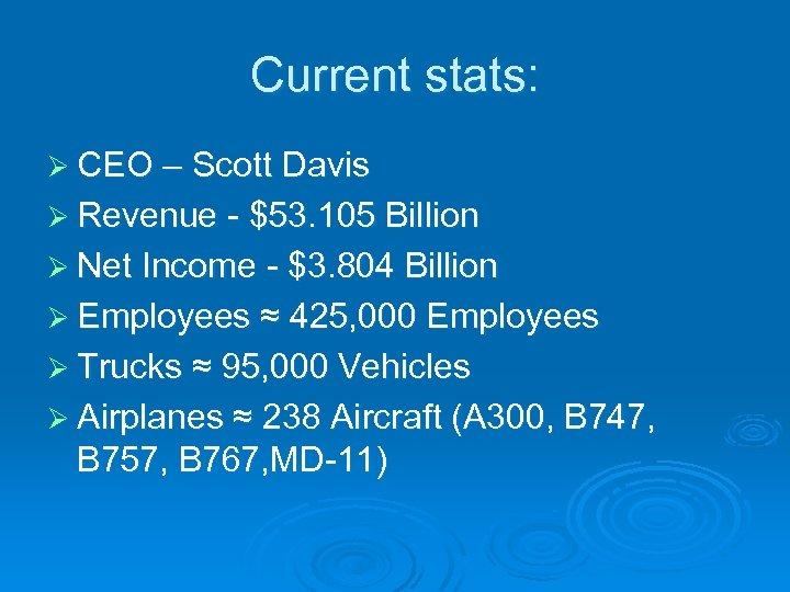 Current stats: Ø CEO – Scott Davis Ø Revenue - $53. 105 Billion Ø