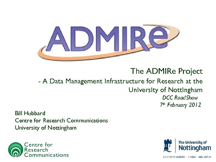 The ADMIRe Project - A Data Management Infrastructure for Research at the University of