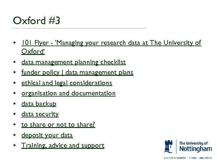 Oxford #3 • 101 Flyer - 'Managing your research data at The University of