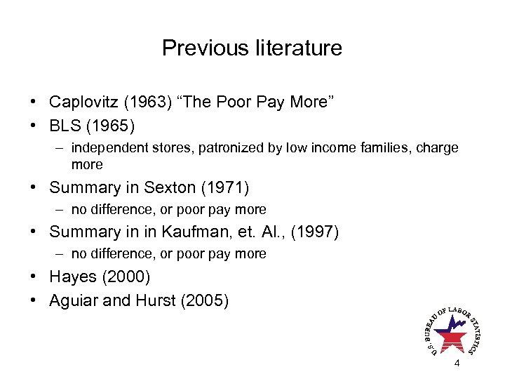 """Previous literature • Caplovitz (1963) """"The Poor Pay More"""" • BLS (1965) – independent"""