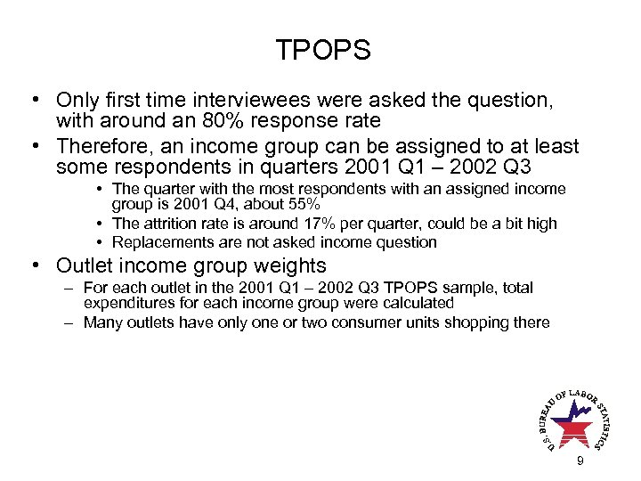 TPOPS • Only first time interviewees were asked the question, with around an 80%