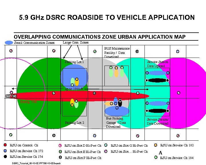 5. 9 GHz DSRC ROADSIDE TO VEHICLE APPLICATION OVERLAPPING COMMUNICATIONS ZONE URBAN APPLICATION MAP