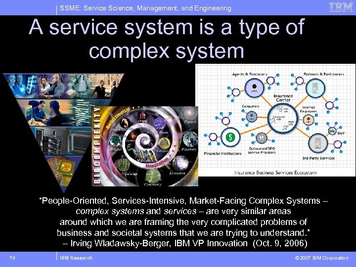 SSME: Service Science, Management, and Engineering A service system is a type of complex