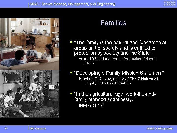 SSME: Service Science, Management, and Engineering Families §