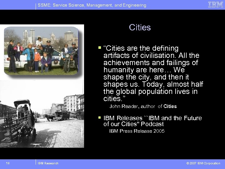 "SSME: Service Science, Management, and Engineering Cities § ""Cities are the defining artifacts of"