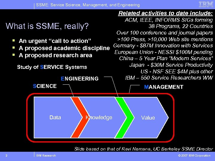 SSME: Service Science, Management, and Engineering Related activities to date include: ACM, IEEE, INFORMS