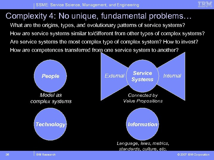 SSME: Service Science, Management, and Engineering Complexity 4: No unique, fundamental problems… What are