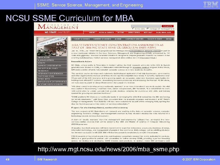 SSME: Service Science, Management, and Engineering NCSU SSME Curriculum for MBA http: //www. mgt.