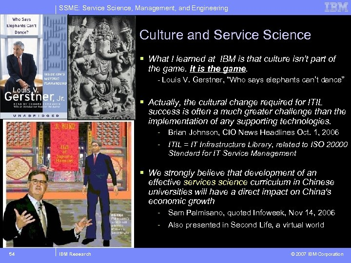 SSME: Service Science, Management, and Engineering Culture and Service Science § What I learned