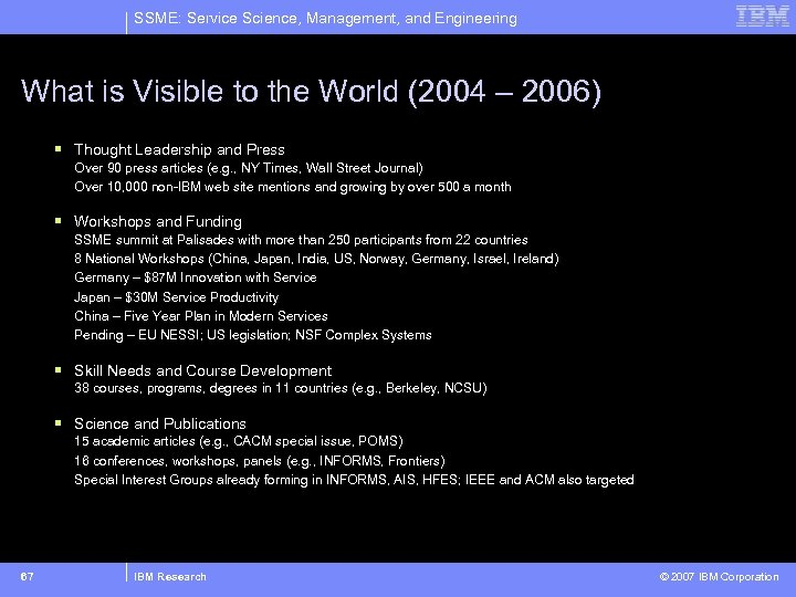 SSME: Service Science, Management, and Engineering What is Visible to the World (2004 –