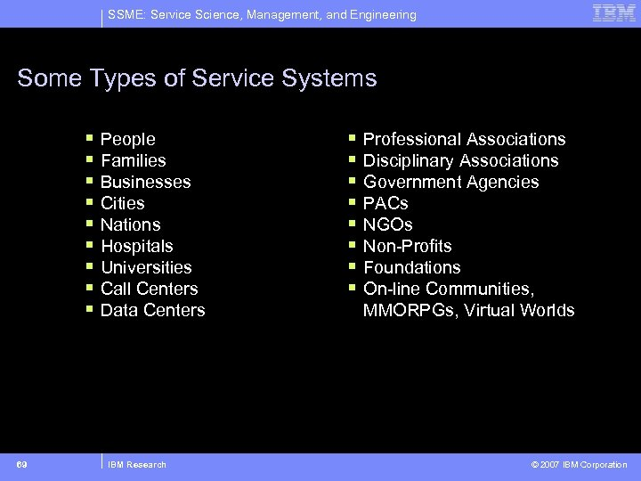 SSME: Service Science, Management, and Engineering Some Types of Service Systems § § §