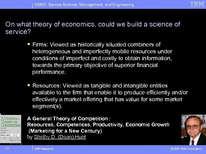 SSME: Service Science, Management, and Engineering On what theory of economics, could we build