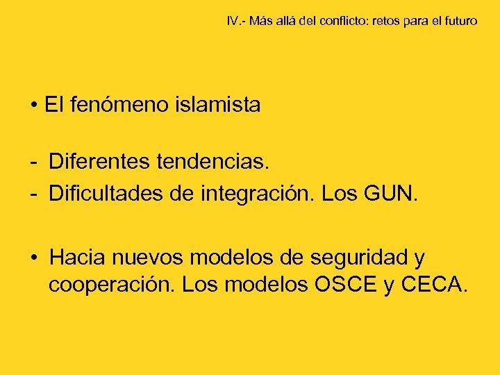 IV. - Más allá del conflicto: retos para el futuro • El fenómeno islamista