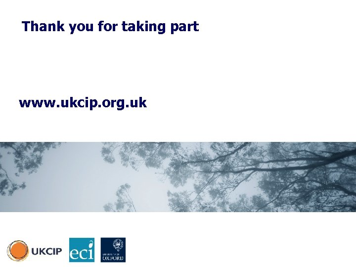 Thank you for taking part www. ukcip. org. uk