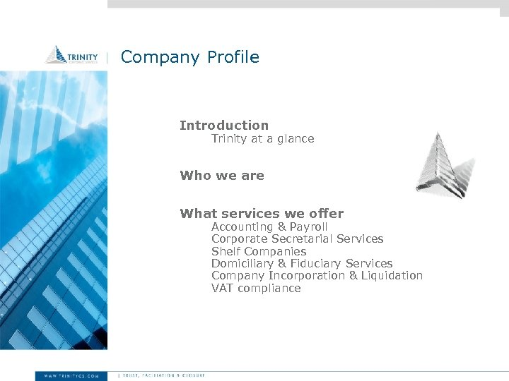 Company Profile Introduction Trinity at a glance Who we are What services we offer
