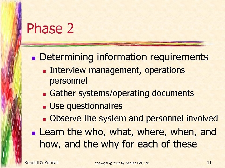Phase 2 n Determining information requirements n n n Interview management, operations personnel Gather