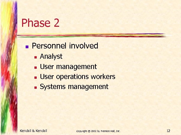 Phase 2 n Personnel involved n n Analyst User management User operations workers Systems