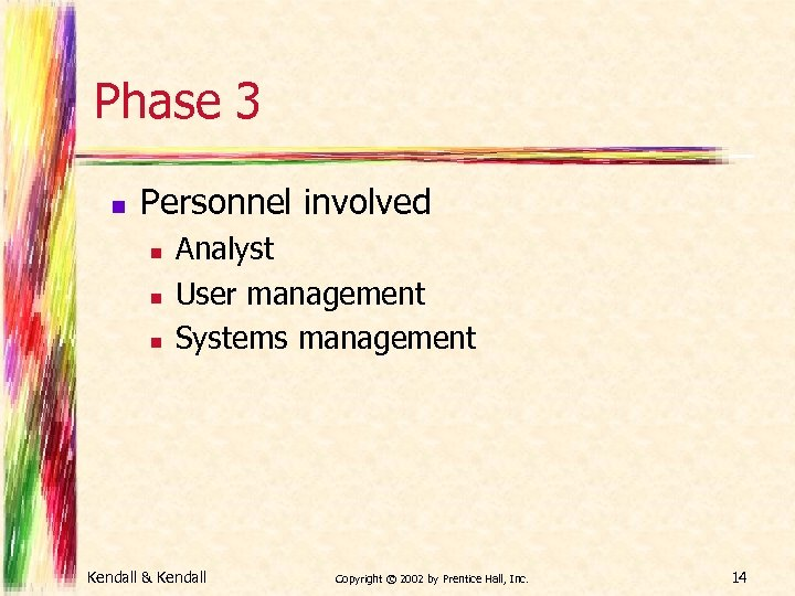 Phase 3 n Personnel involved n n n Analyst User management Systems management Kendall