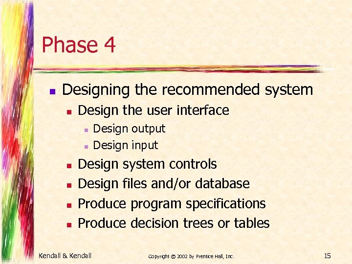 Phase 4 n Designing the recommended system n Design the user interface n n
