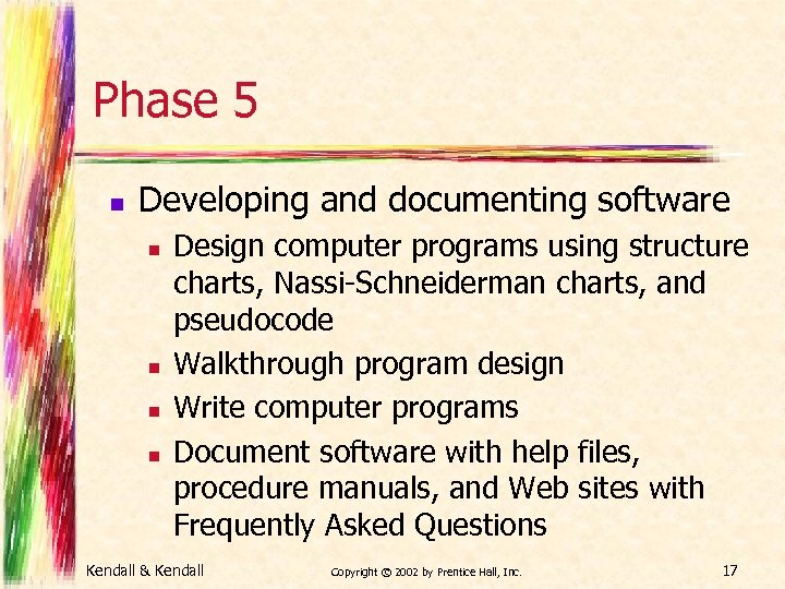 Phase 5 n Developing and documenting software n n Design computer programs using structure
