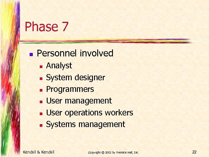 Phase 7 n Personnel involved n n n Analyst System designer Programmers User management
