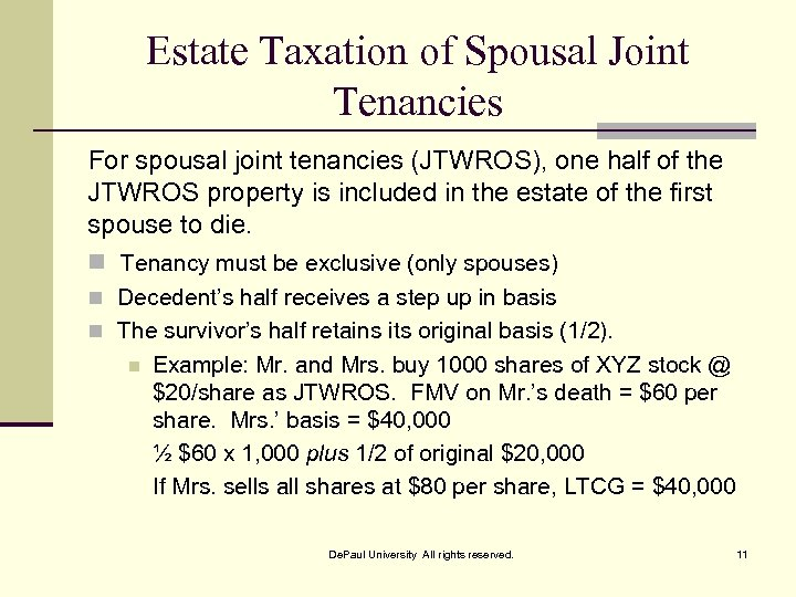 Estate Taxation of Spousal Joint Tenancies For spousal joint tenancies (JTWROS), one half of