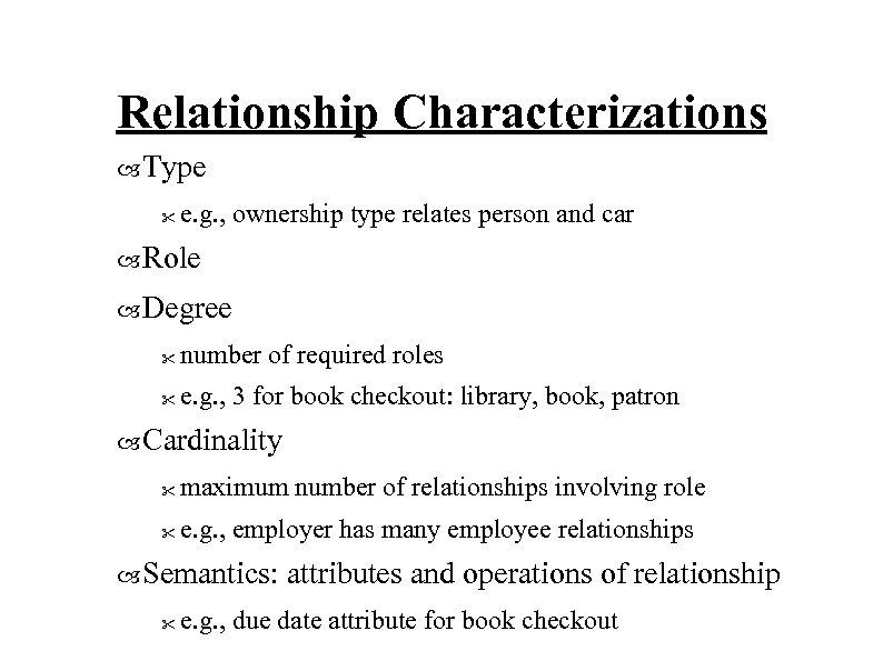 Relationship Characterizations Type