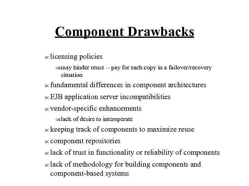 Component Drawbacks
