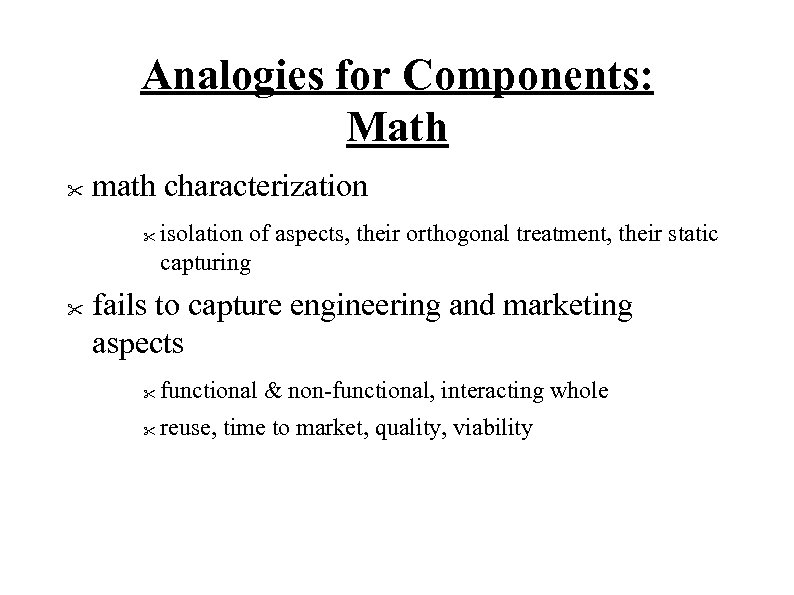 Analogies for Components: Math