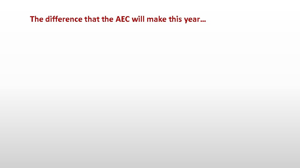 The difference that the AEC will make this year…