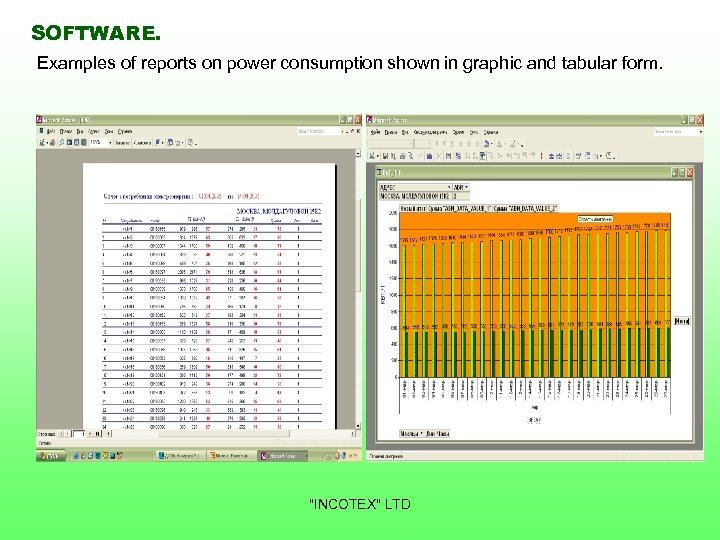SOFTWARE. Examples of reports on power consumption shown in graphic and tabular form.