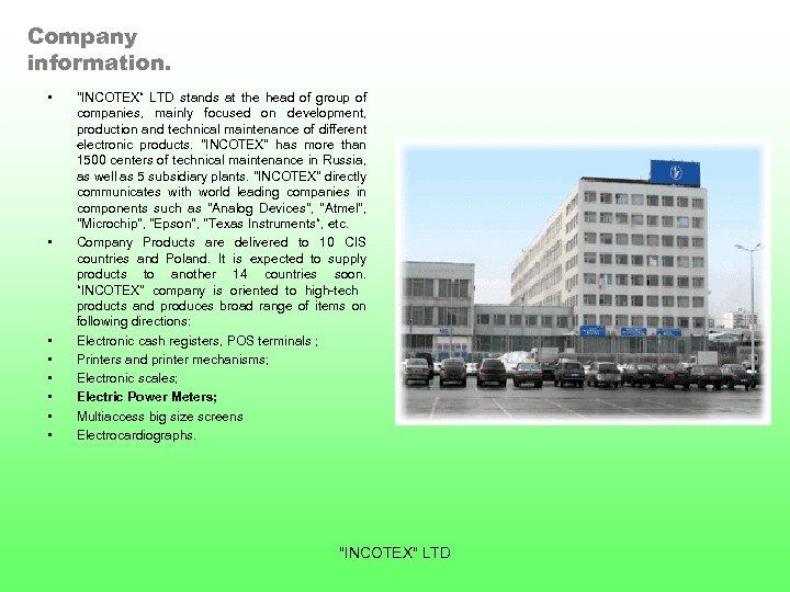 Company information. • •