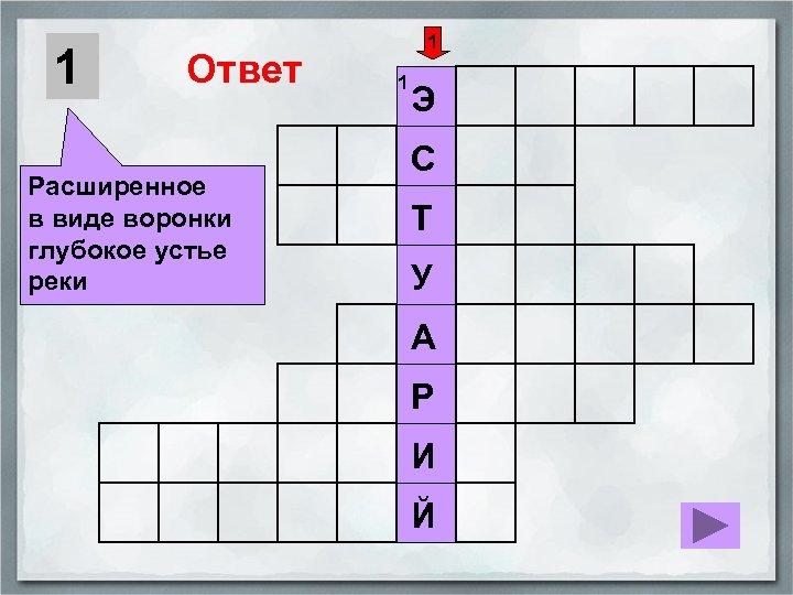 1 Ответ Расширенное в виде воронки глубокое устье реки 1 1 Э С Т