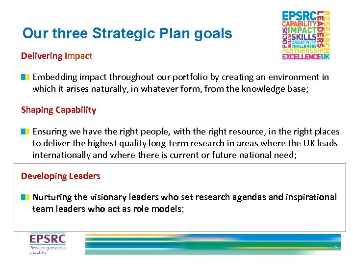Our three Strategic Plan goals Delivering Impact Embedding impact throughout our portfolio by creating