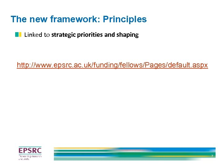 The new framework: Principles Linked to strategic priorities and shaping http: //www. epsrc. ac.