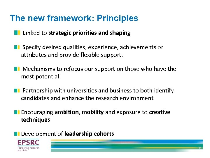 The new framework: Principles Linked to strategic priorities and shaping Specify desired qualities, experience,