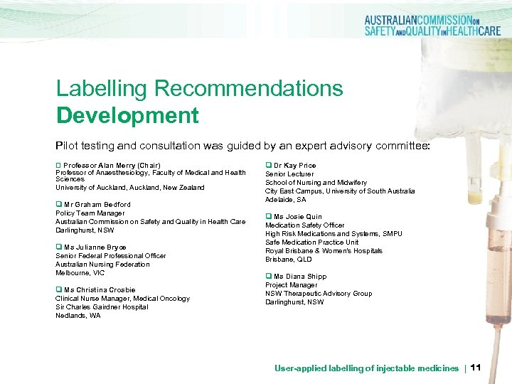 Labelling Recommendations Development Pilot testing and consultation was guided by an expert advisory committee: