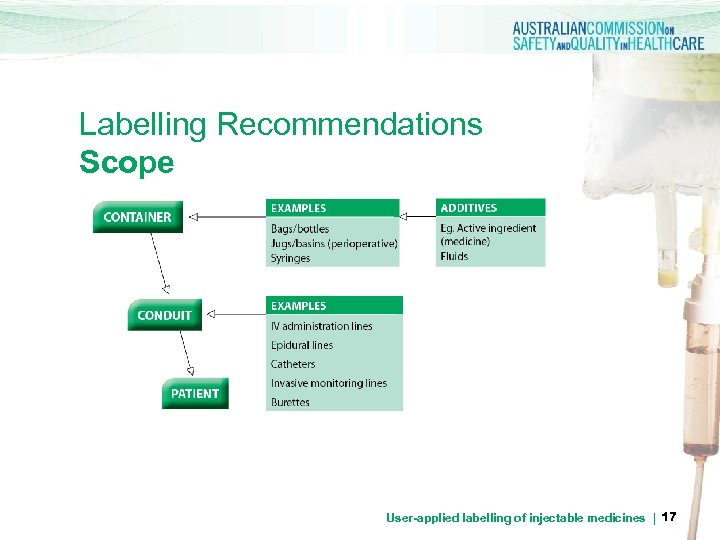 Labelling Recommendations Scope User-applied labelling of injectable medicines | 17