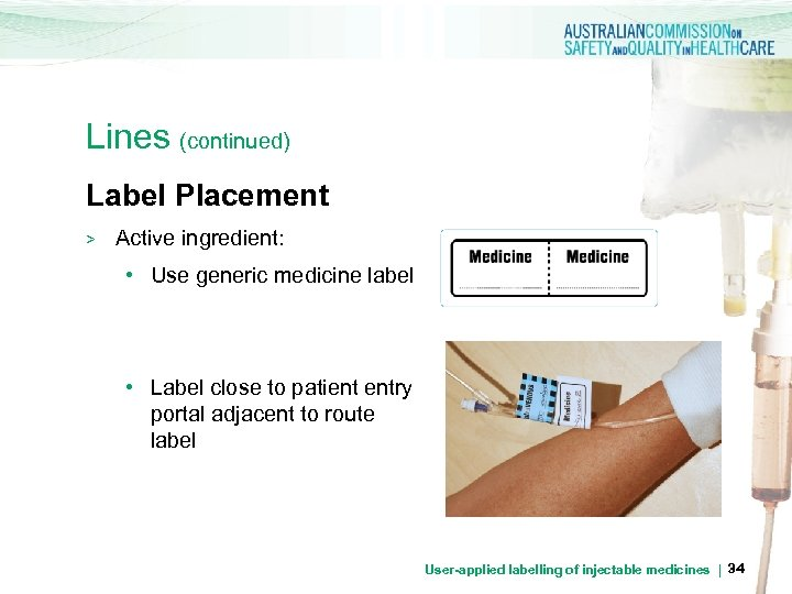 Lines (continued) Label Placement > Active ingredient: • Use generic medicine label • Label