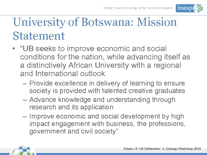 """University of Botswana: Mission Statement • """"UB seeks to improve economic and social conditions"""