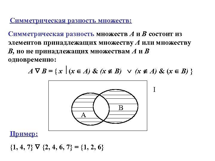 Симметрическая разность множеств: Симметрическая разность множеств A и B состоит из элементов принадлежащих множеству