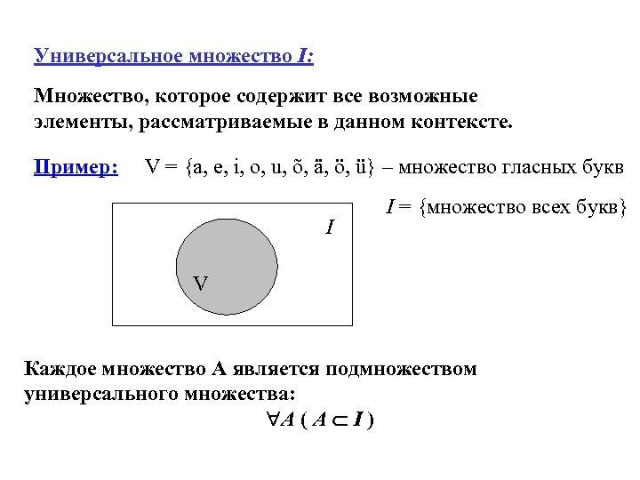 Универсальное множество I: Множество, которое содержит все возможные элементы, рассматриваемые в данном контексте. Пример: