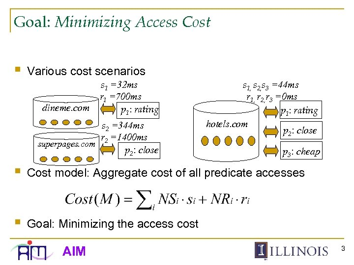 Goal: Minimizing Access Cost § Various cost scenarios dineme. com s 1 =32 ms