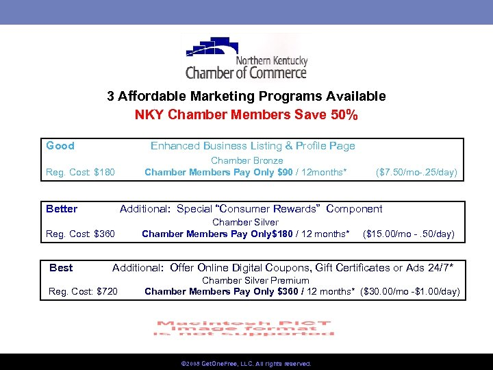 3 Affordable Marketing Programs Available NKY Chamber Members Save 50% Good Enhanced Business Listing
