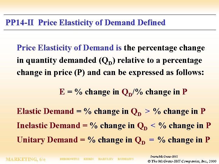 PP 14 -II Price Elasticity of Demand Defined Price Elasticity of Demand is the