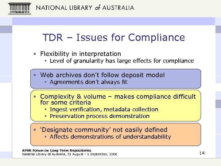 TDR – Issues for Compliance § Flexibility in interpretation § Level of granularity has