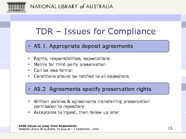TDR – Issues for Compliance § A 5. 1. Appropriate deposit agreements § §