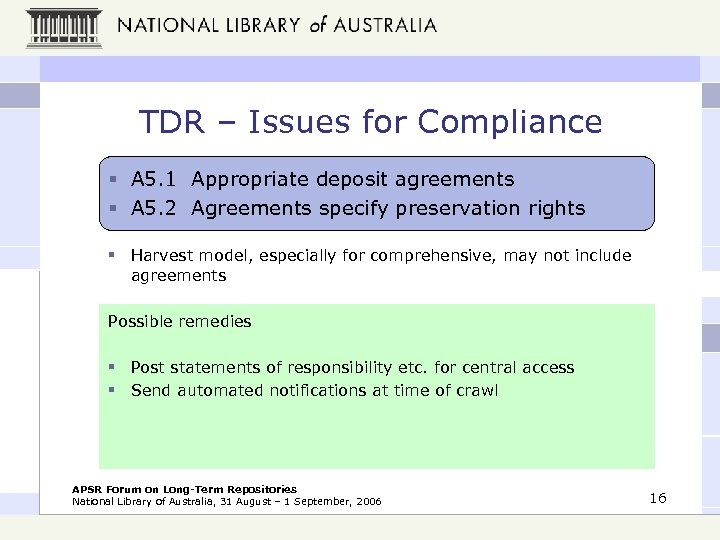 TDR – Issues for Compliance § A 5. 1 Appropriate deposit agreements § A